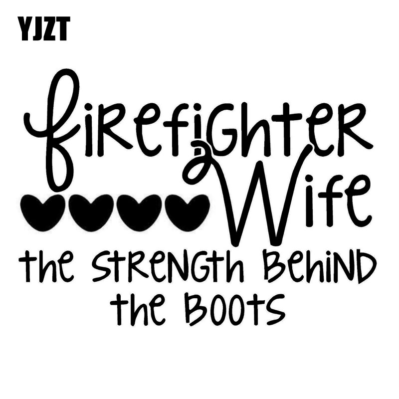 YJZT 12.5X9CM FIREFIGHTERS WIFE STRENGTH LOVE Fashion Decals Car Sticker Black/Silver Vinyl S8-1383