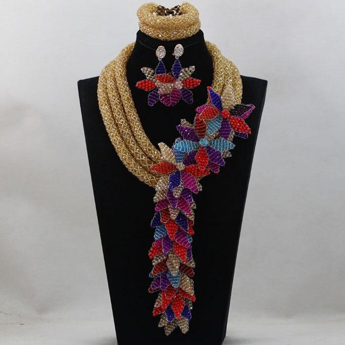 2016 Костюм Африканский комплект ювелирных изделий шампанское/фиолетовый/королевский синий кристалл Бусины Нигерии Свадебные большой цвето