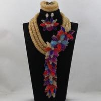 2016 комплект украшений в африканском стиле комплект шампанского/фиолетового/Королевский Голубой Кристалл бусины нигерийский Свадебный бол