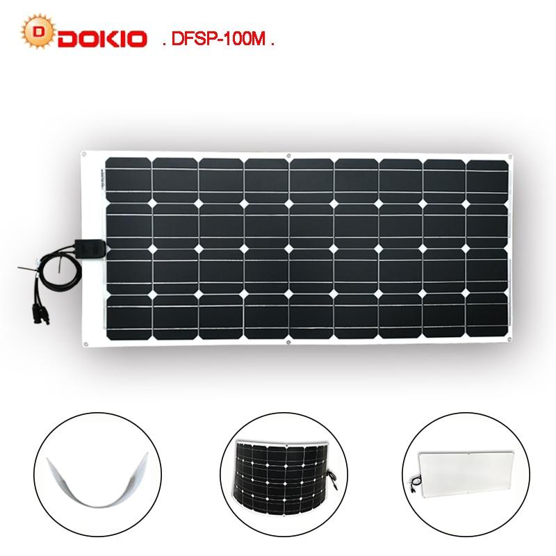 Dokio Brand Solar Panel China 100W Mono Silicon Flexible for Car Yacht Steamship 12V 24 Volt