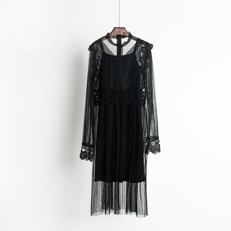 2017 Autumn new female ruffles sweet gauze lace pressure pleated one-piece dress women's waist slim full dress twinset 6