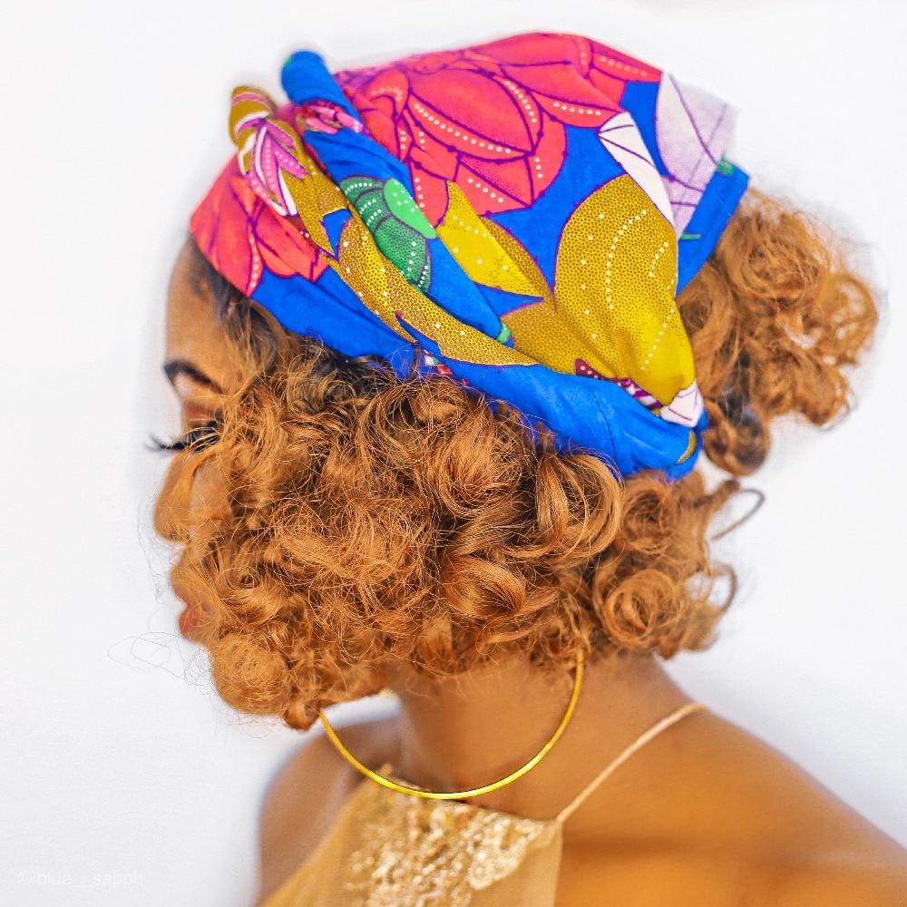 Shenbolen Floral diadema tradicional africano Headtie bufanda turbante 100% algodón cera 72