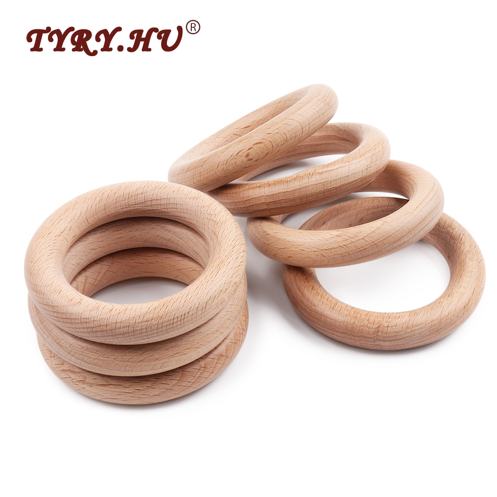 TYRY.HU 50Pcs 40mm/70mm Beech Wooden Rings Baby Teethers DIY Necklace Pendant Baby Rattle Accessories High Quality Shower Gifts