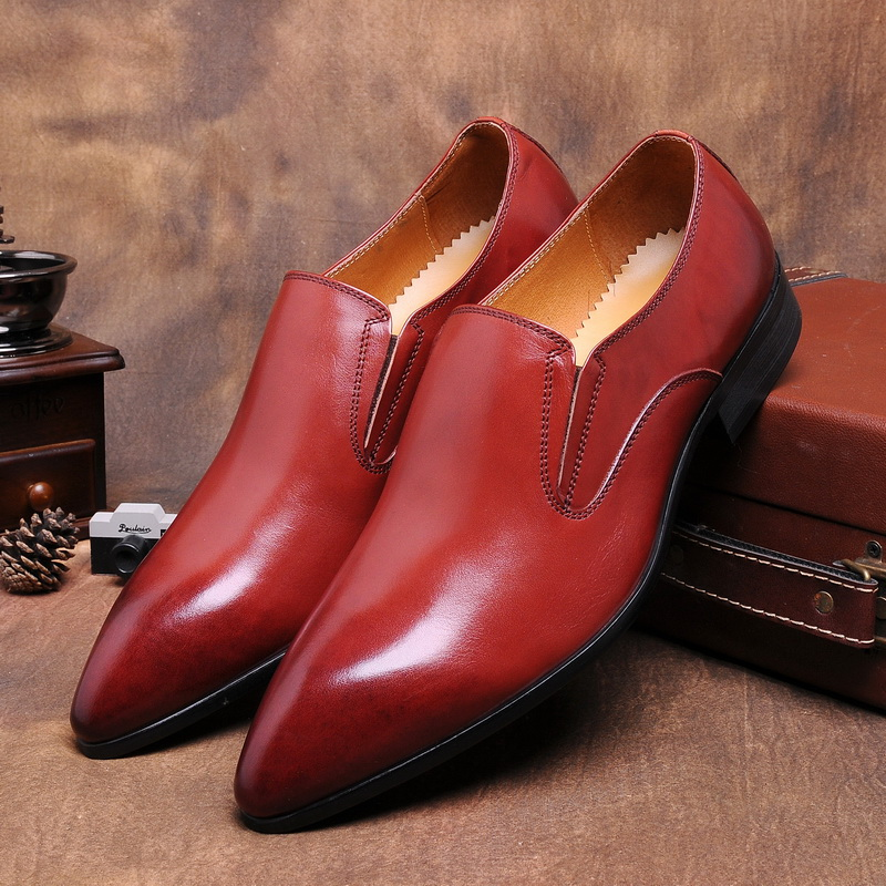 Fashion black / wine red flats pointed toe mens dress shoes genuine leather wedding shoes mens casual business shoes pu pointed toe flats with eyelet strap