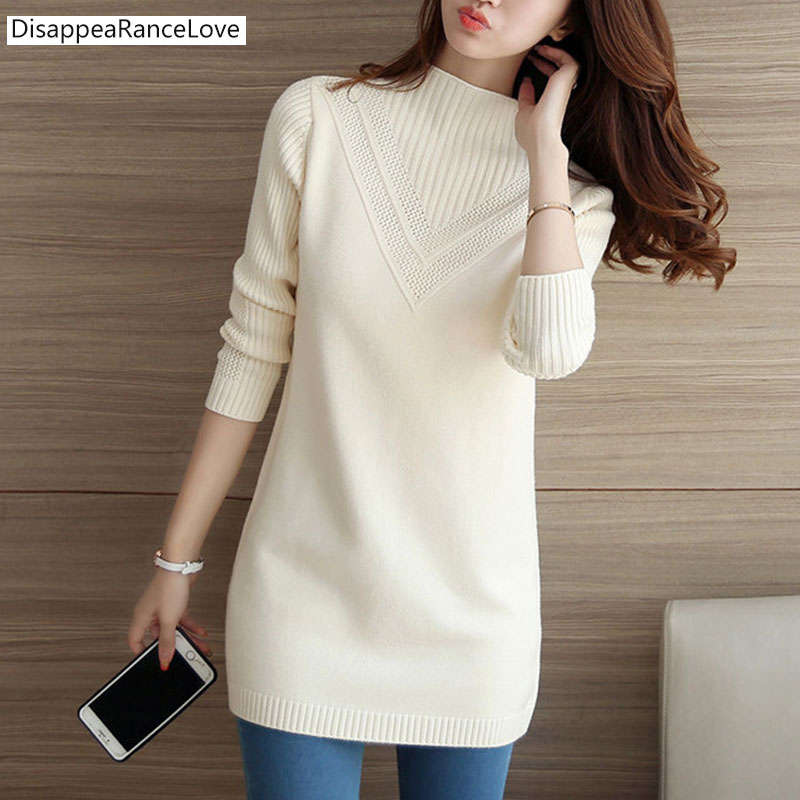 2019-drl-female-sweater-outerwear-medium-long-basic-pullovers-office-lady-sweater-thickening-solid-color-turtleneck-sweater