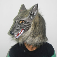 Halloween Creepy Animal Full Head Grey Werewolf Wolf Mask Fancy Dress Latex Party Mask Prop Cosplay Costume Toys