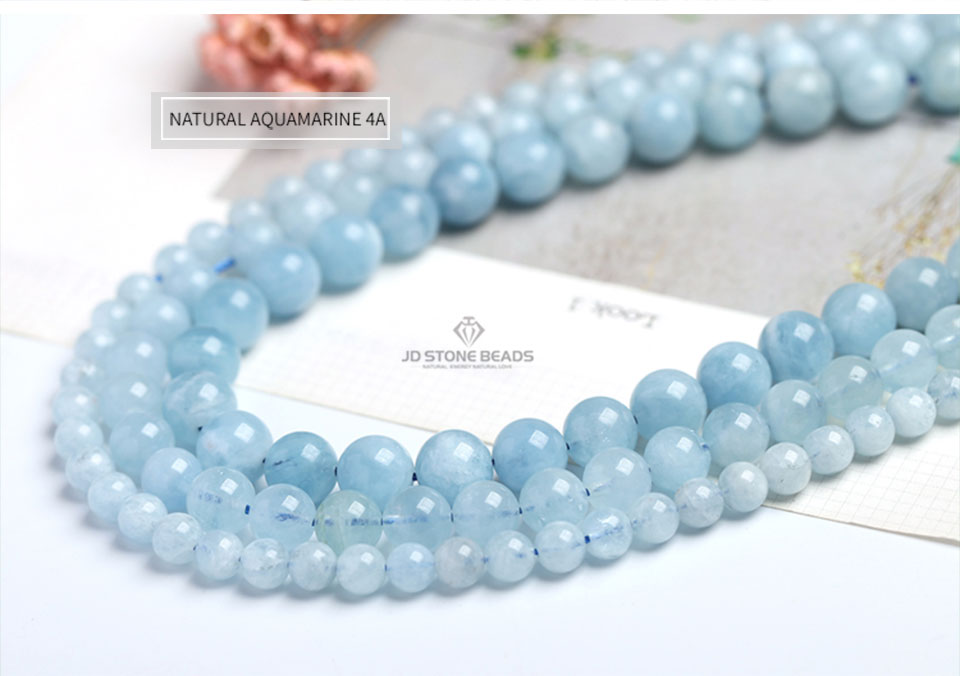 4 6 8 10 12 mm Natural Aquamarine loose Beads Free Shipping Faceted Blue Pick Szie  DIY Accessory Gemstone For Jewelry Making