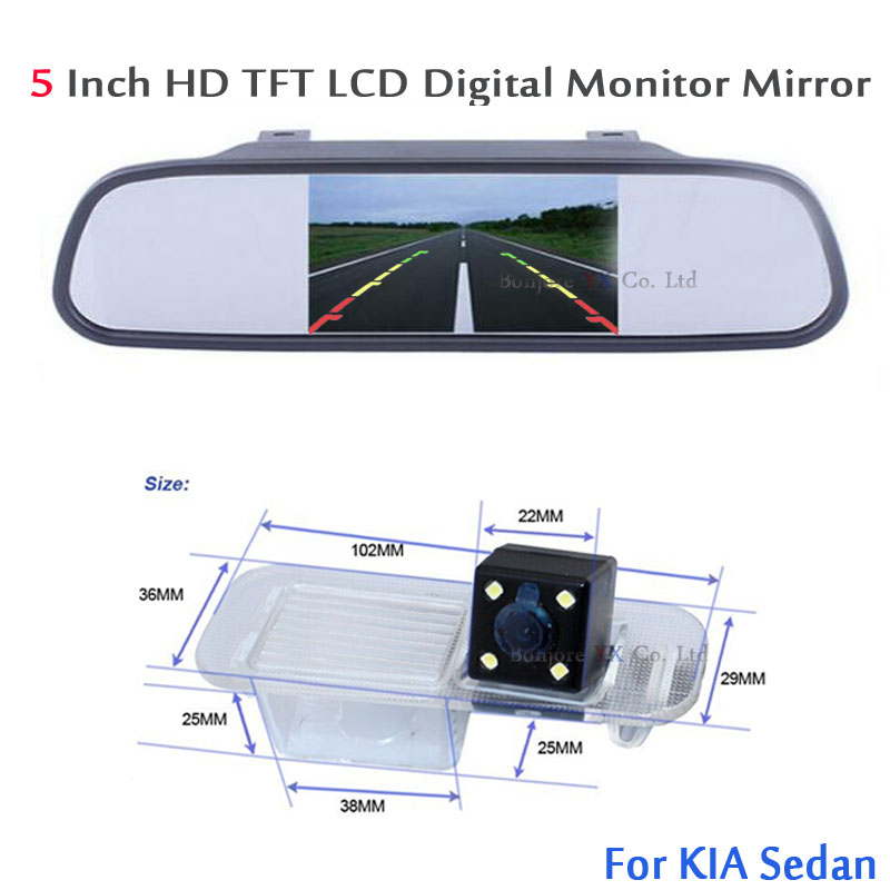 2in1 Auto rearview camera for KIA RIO Sedan with High Resolution 5 Colorful 800 480 Tft