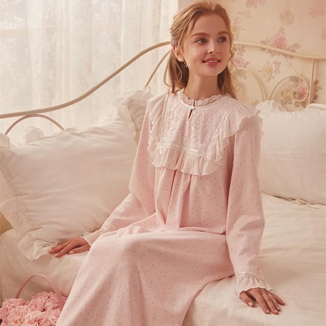 64775b3965 Vintage Nightgown Cotton Sleepwear Gown Women Elegant Nightgowns Long  Nightdress Homewear Ankle-Length Dress Ladies