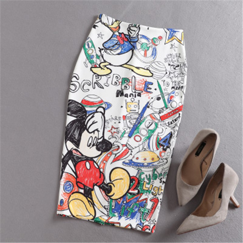 Mickey Women's High Waist Slim Hip Skirt Cartoon Letter Print Pencil Skirts Women Sexy Mickey Skirt Knee Length Skirt For Summer