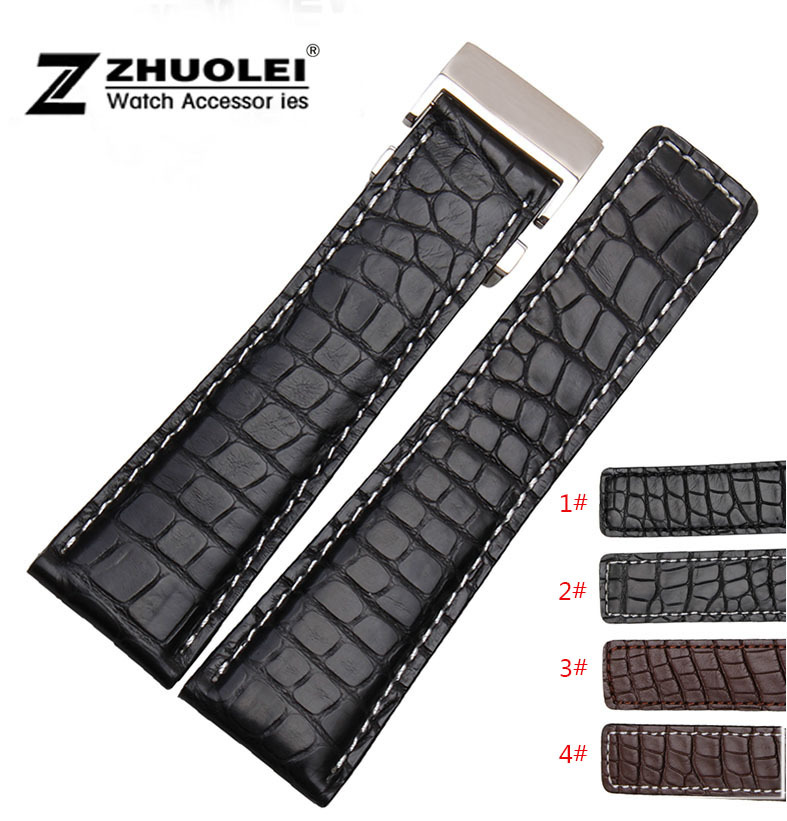 Watch band 22mm 24mm New Mens Black Crocodile Genuine Leather Watchs Strap Bracelets Silver Stainless Steel Watch Buckle Clasp