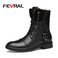 FEVRAL מותג גברים מגפי סתיו החורף אמיתי עור גברים עמיד למים גומי שלג מגפי פנאי מגפי אנגליה רטרו נעליים לגברים