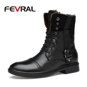 Image 1 - FEVRAL ماركة الرجال الأحذية الخريف الشتاء جلد أصلي للرجال مطاط مقاوم للمياه الثلوج الأحذية الترفيه الأحذية England الرجعية للرجال