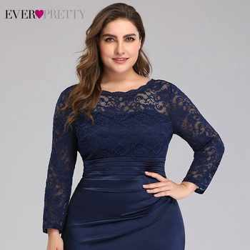 Plus Size Evening Dresses Long Ever Pretty EP07584NB Elegant Lace Long Sleeve Mermaid Formal Party Gowns Robe De Soiree Rouge
