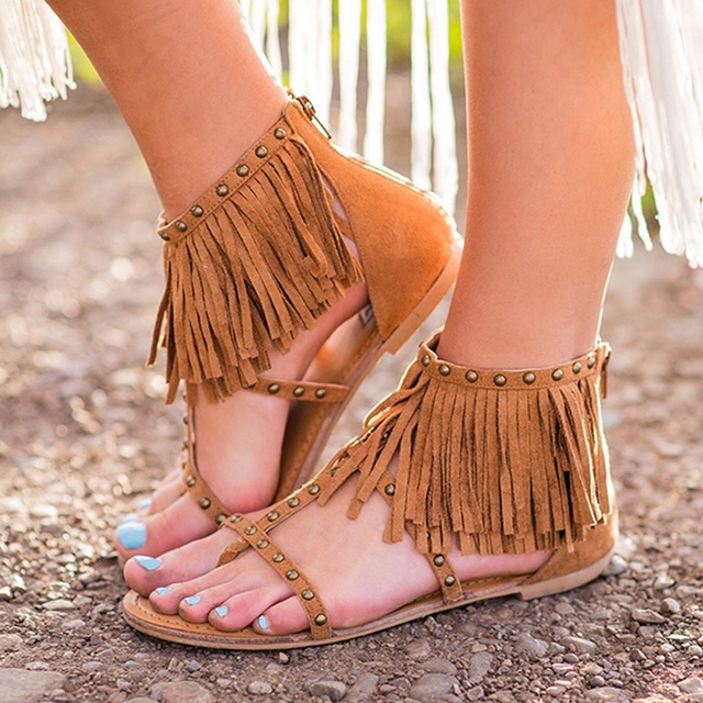 b05ac2d79f590 Women Shoes Sandals Comfort Sandals Tassel Summer Flip Flops 2018 Fashion  Flat Sandals Gladiator Bohemia Beach Flat Shoes