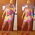 2016 Лето Осень Стиль Африканские Платья Для Женщин Сексуальная Фрукты Отпечатано Выше Колена Похудения С Длинным Рукавом Bodycon Bodycon Dress SL