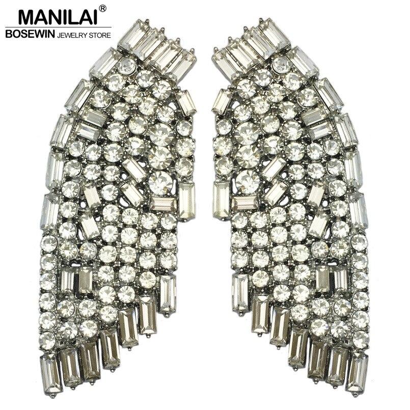 MANILAI De Luxe Aile Grand Strass boucles d'oreilles pour femmes bijoux de mariage Vintage Alliage boucles d'oreille en cristal Déclaration