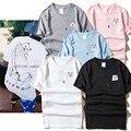 2017 t-shirt novos de verão dos homens das mulheres moda cat bolso camisas do amante marca de luxo de algodão de manga curta em torno do pescoço t-shirt casais