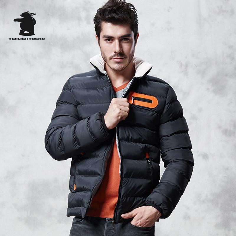 ФОТО New Men's Black Winter Coats Fashion Shearling Thickened Quilted Jacket Men Designer Fashion Casual cotton-padded clothes D8F987