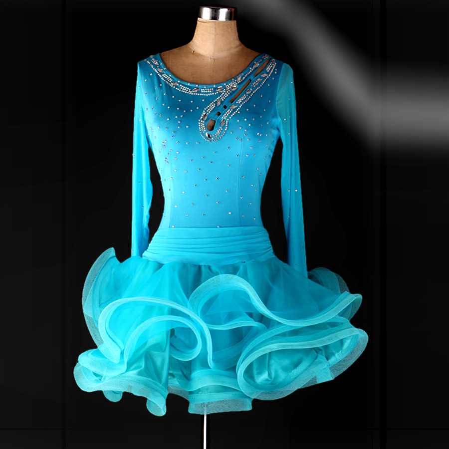 Picture of Flower Fish Tail Latin Dance Costumes Modern Dance Dresses Rhinestone Blue\/Red\/Black Tango\/Samba\/Rumba Competition Dress