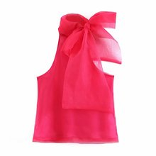 Women  Chiffon Shirts Fashion Sleeveless Solid Blouse Translucent Thin Halter Famale Bow Decoration Tops Clothes