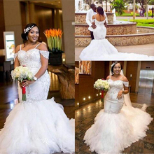 Sexy Off The Shoulder Mermaid Wedding Dress With Tassel Train Plus Size Sweetheart Lace African Wedding Gowns With Lace Up 2019 plus size off the shoulder flounce lace dress