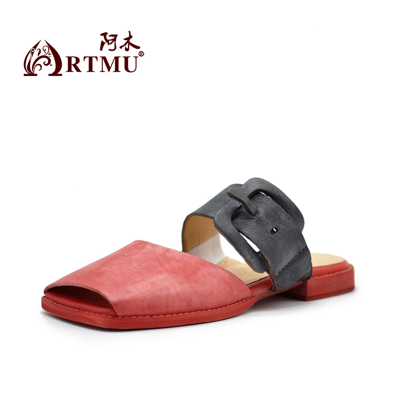 Artmu Original Retro Art Flat Belt Buckle Women Slippers Peep Toe Square Toe Genuine Leather Outside Wear Sandals 1812-15