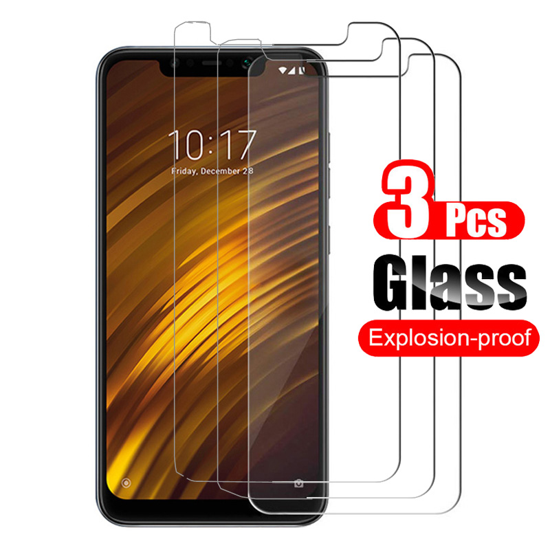3Pcs For Xiaomi Pocophone F1 Tempered Glass Screen Protector Protective Film 9H For Xiaomi Poco Phone F1 Case Friendly Glass