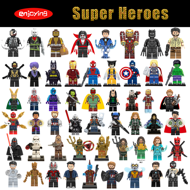Super Heroes Marvel Figures Aquaman Spiderman Batman Stan Lee Compatible with LEGOing Anime Building Blocks Toys for Childern