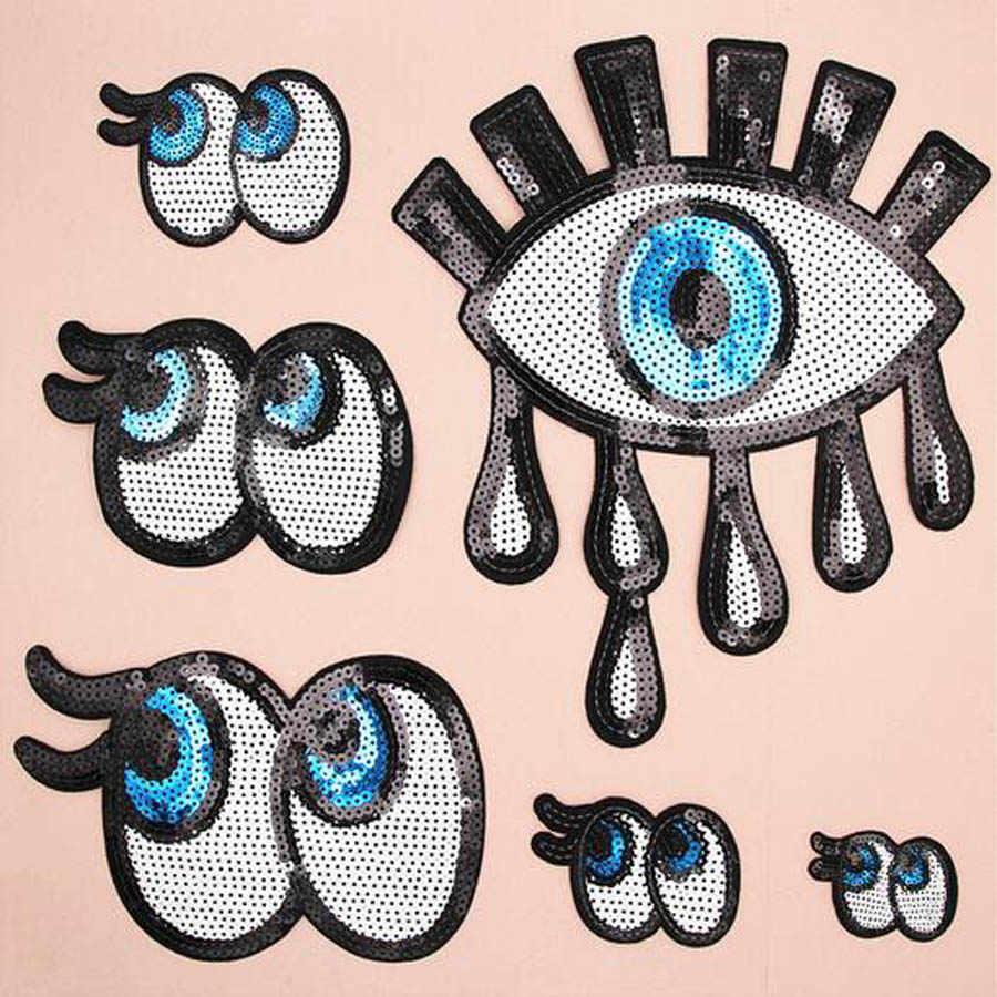 Paillette Payet Bordir Mata Patch Pakaian Stiker Tas Menjahit Besi Patch Bordiran Diy Pakaian Jahit Pakaian DIY BU91