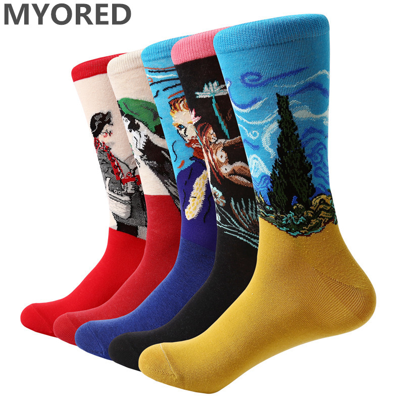 MYORED 2018 NEW 5 pair/lot Men's funny socks retro oil painting cotton socks col