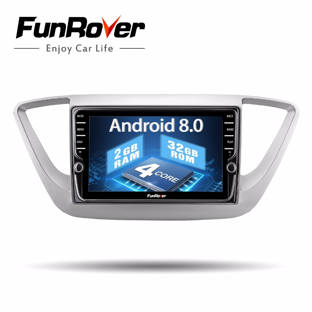 Funrover IPS 2 Din Autoradio Multimédia dvd Lecteur Android 8.0 Pour hyundai solaris accent verna 2017 2018 GPS Navigation lecteur