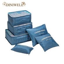 ФОТО  diniwell brand 6 pcs set storage bags travel tidy bags handbags house wardrobe clothing sort organizer bags