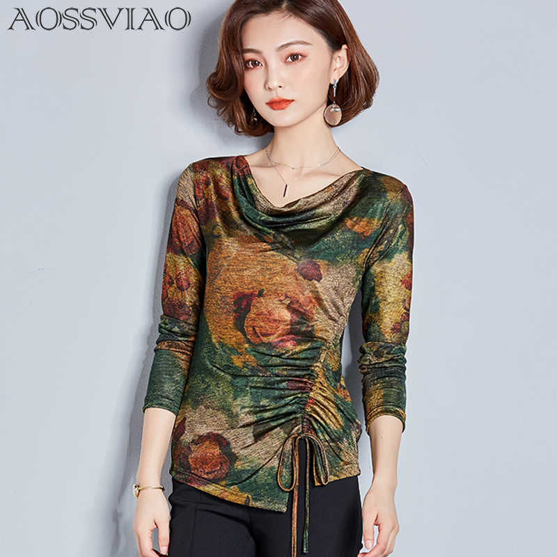 052a53554f0 2019 New Womens Vintage Floral Print O-neck Tunic Tops Women s Fashion Blouses  Women Clothes