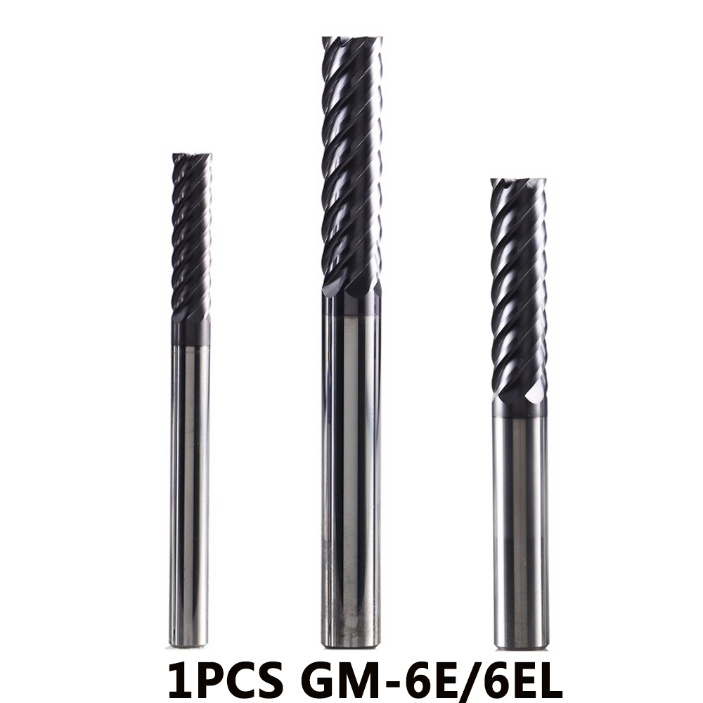 GM-6E GM-6EL Solid Tungsten Steel 6 Flute Square Head Coated End Mills Cnc Milling Cutter For Metal Finish Machining HRC4