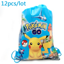 12pcs/lot Pikachu Theme Decorate Birthday Party Blue Drawstring Gifts Bags Baby Shower Mochila Boys Favors Pokemon Go Backpack