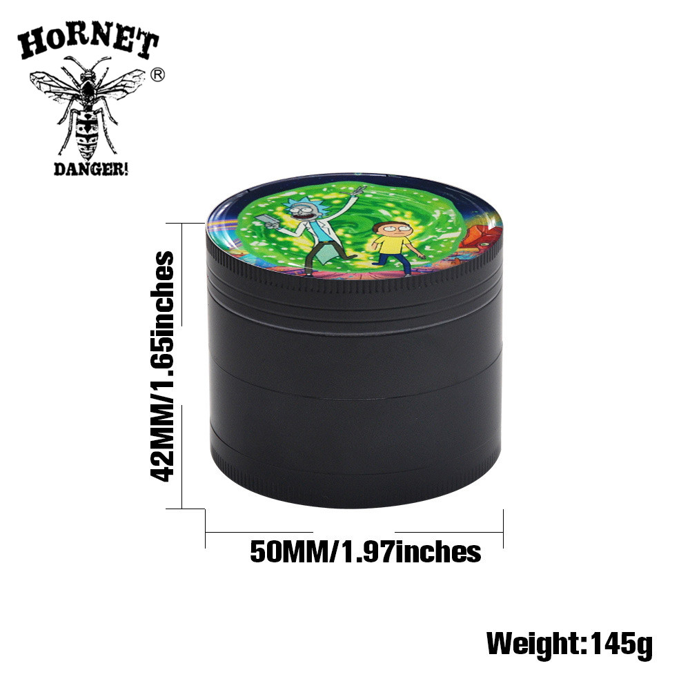 Image 2 - HORNET Domed Sticker Rick&Morty Smoking Grinder Zinc Alloy Metal Herb Grinder 50MM 4 Layers Tobacco Grinder Hand Muller Crusher-in Tobacco Pipes & Accessories from Home & Garden