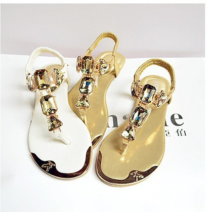 (35-42 yards) free shipping 2015 new summer sandals rhinestone thong sandals women sandals large size metal head