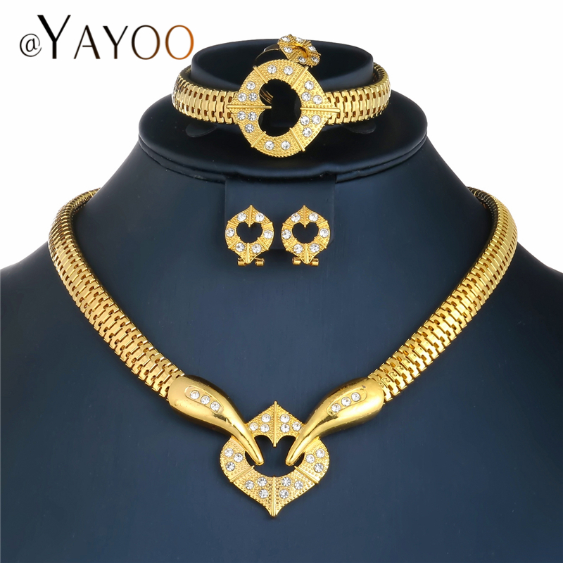 AYAYOO Jewelry Sets Luxury <font><b>Indian</b></font> African Beads Jewelry Set Gold Color Crystal Bridal Jewelry Sets For Women Jewelery Costume image