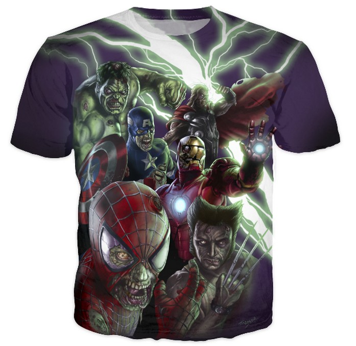 Marvel Zombies The Avengers Crewneck t shirt Women Men Spider-Man Iron Man Hulk Cartoon Character T-Shirt Summer Tops Tees
