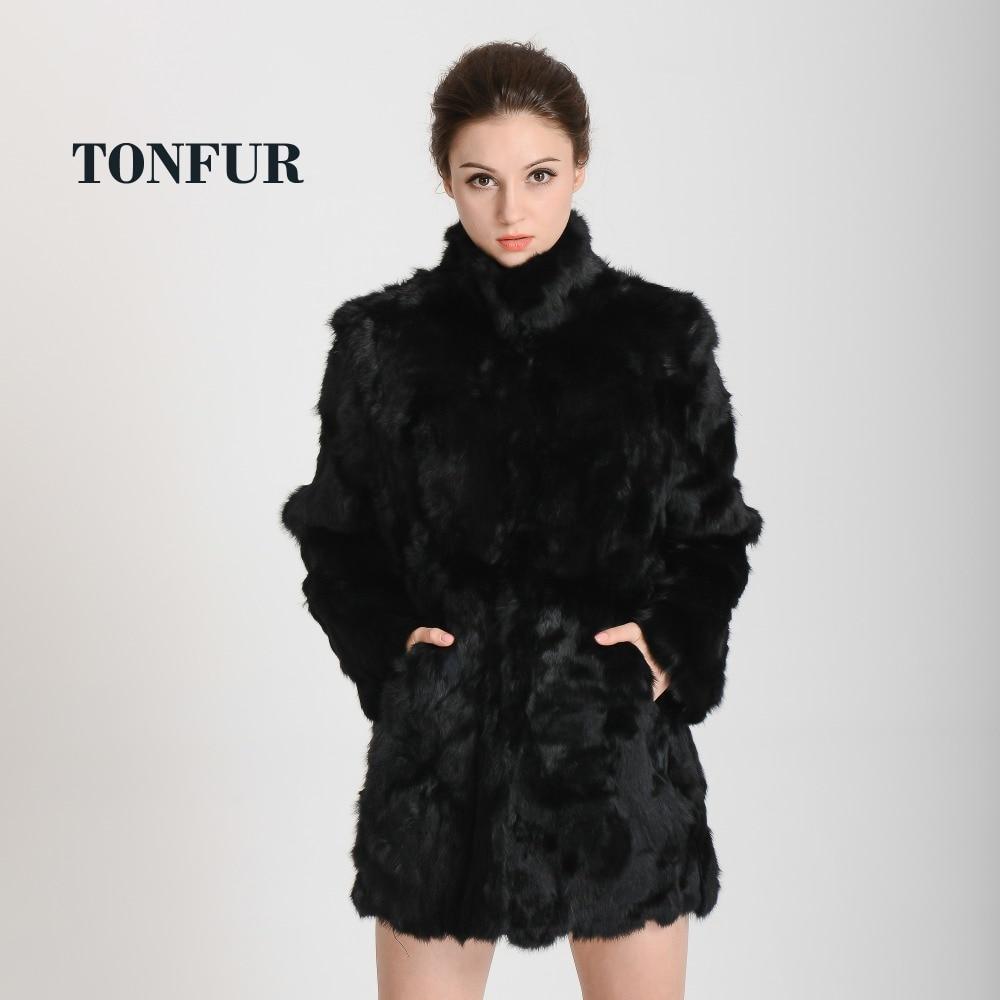 2019 New Women Fashion Real Rabbit Fur Coat Mandarin Collar Real Fur Coat Long Customize Jacket