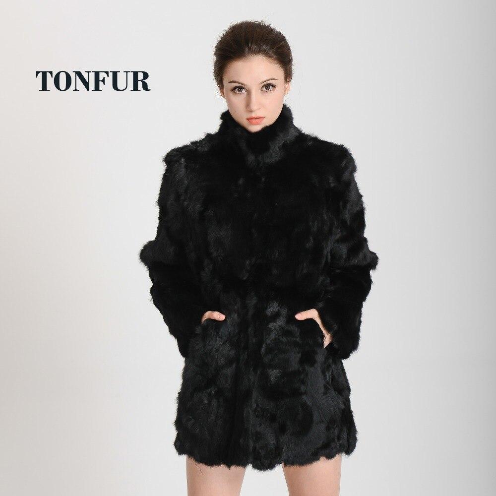 2019 nueva chaqueta de piel de conejo Real de moda para mujer abrigo de piel Real con cuello mandarín chaqueta personalizada larga envío gratis HP147-in piel real from Ropa de mujer    1