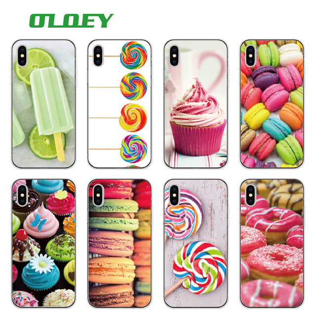 OLOEY Gelato Ice Cream Cone Donuts Chocolate Gummy Bear Canes Christmas  Popsicle Phone Case For iPhone 7Plus 7 8 8Plus X XS Max 40edb5185acd