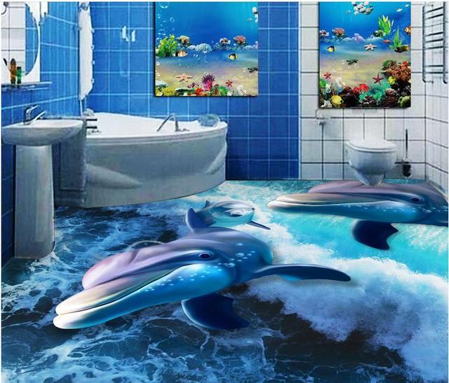 custom 3d floor tiles vinyl wallpaper dolphin 3d wall murals 3d floor painting wallpaper self. Black Bedroom Furniture Sets. Home Design Ideas