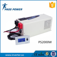 2000w 12v 220v solar power inverter charger with LCD display, pure sine wave board with perfect protections