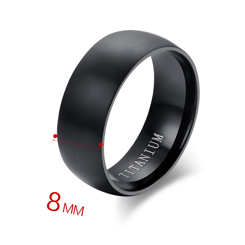 100 Titanium Rings For Men 8mm Cool Black Men Ring Jewelry Wedding