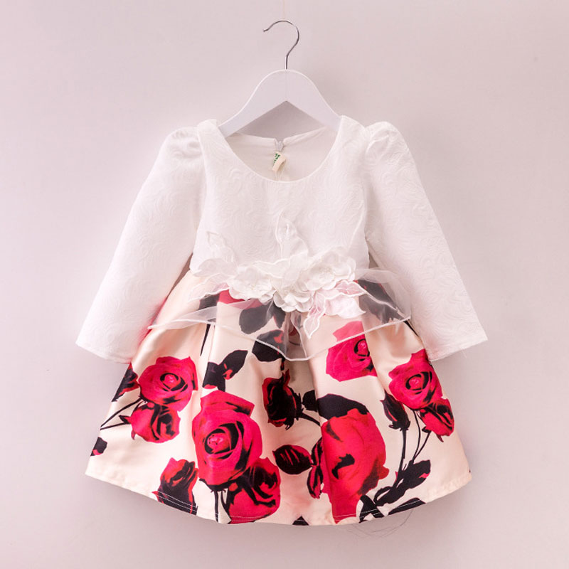 2016 New autumn girls costume European&American style kids dress for girls fashion lace floral child long sleeve dress