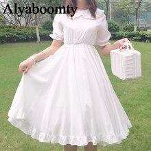 """Нежное женское платье на лето,милое платье японского стиля""""Лолита"""",женственное платье с оборками и пышной юбкой,кавайное прелестное платье для повседневной жизни и праздника,с коротким рукавом,белого цвета"""