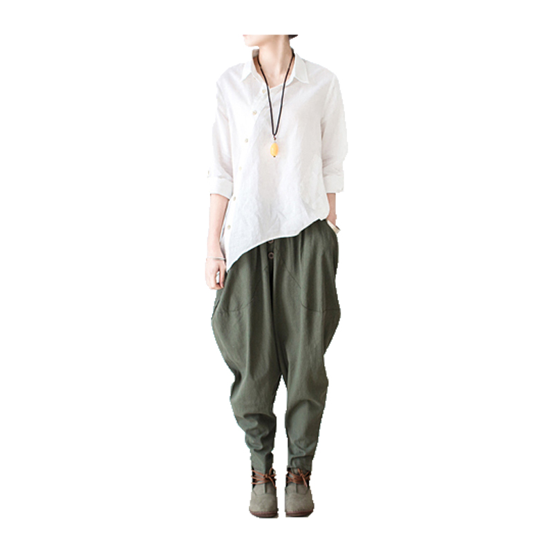2018 vászon nadrág Tavaszi Nyár Női hárem nadrág Női szabadidő stílus Bloomers Laza nadrág Női okozati nadrág pamut Capris