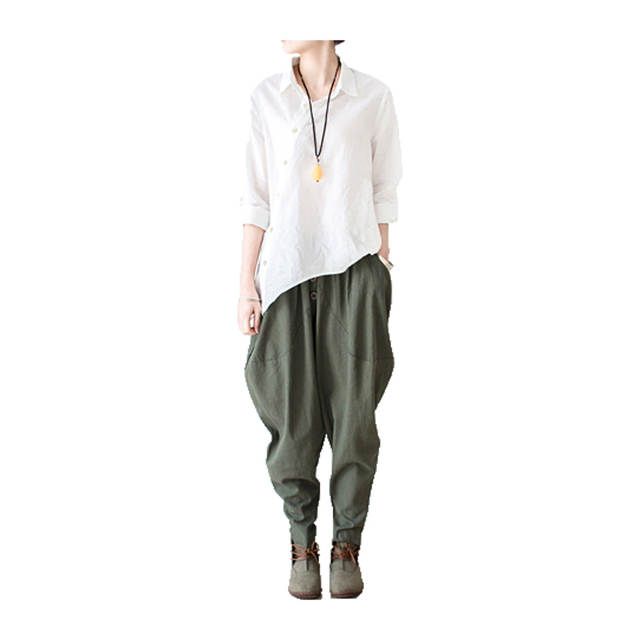 6faa505f3 2018 Linen Pants Spring Summer Women Harem Pants Female Leisure Style Bloomers  Loose Trousers Ladies' Causal Pants Cotton Capris-in Pants & Capris from ...